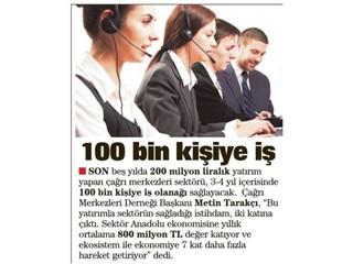 100 bin kişiye iş