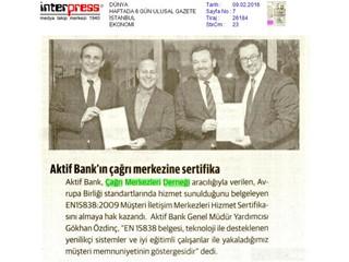 Aktif Bank'ın çağrı merkezine sertifika