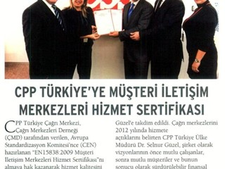 CPP Türkiye'ye Müşteri İletişim Merkezleri Hizmet Sertifikası