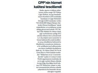 CPP Türkiye'nin hizmet kalitesi tescillendi