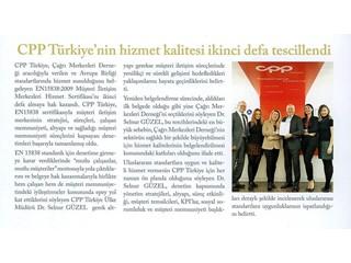 CPP Türkiye'nin Hizmet Kalitesi İkinci Defe Tescillendi
