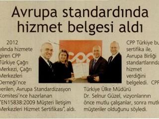 CPP Avrupa standardında hizmet belgesi aldı
